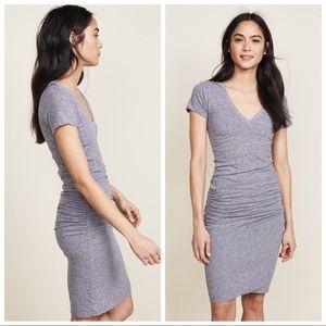 Monrow Short Sleeve Shirred Dress , Granite - SM